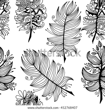 Decorative Flowers Birds Coloring Book Adult Stock Vector