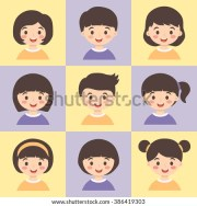 set kids yellow pink vector illustration