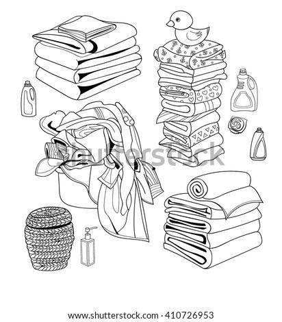 Laundry Cartoon Set Basket Dirty Laundry Stock Vector