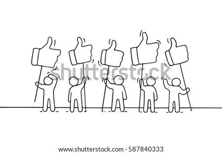 Sketch Little People Like Dislike Signs Stock Vector