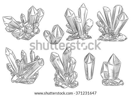 Vector Set Hand Drawn Crystals Stock Vector 269315189