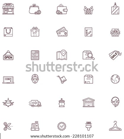 Vector Flat 8 Bit Icons Collection Stock Vector 520285573