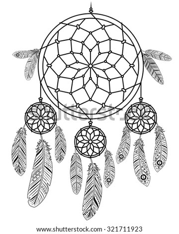 Boho Vector Set Dream Catcher Feathers Stock Vector