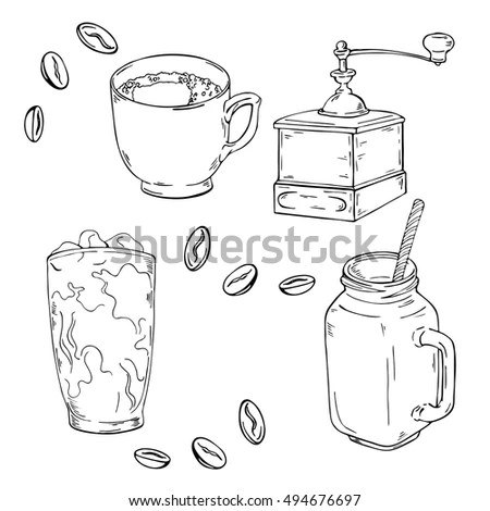 Hand Drawn Outline Cooking Ingredients On 스톡 벡터 409293007