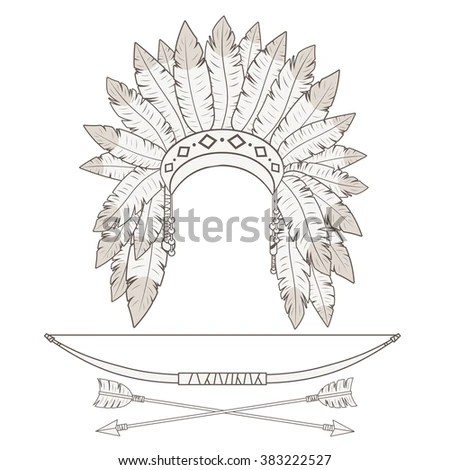 Native American Indian Headdress Vector Illustration Stock
