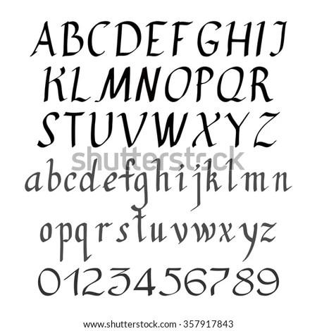 Handwriting English Alphabet Upper Lower Cases Stock