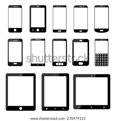 Set Electronics Icons Black Tablets Samsung Stock Vector