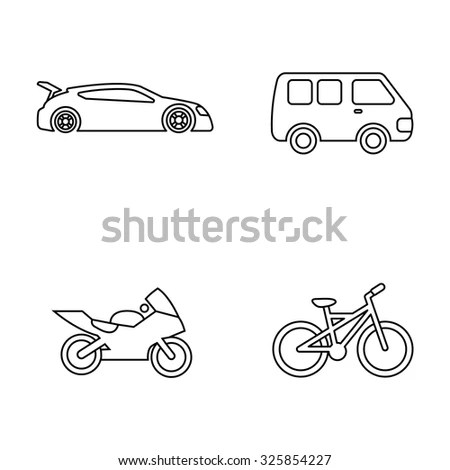 Different Transport Types Travel Sample Icons Stock Vector