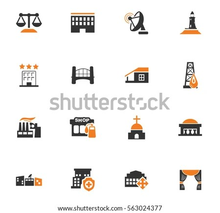 City Wayfinding Modern Vector Icons Pictograms Stock