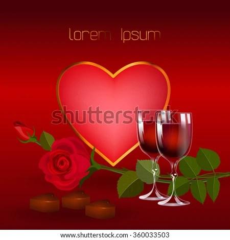 Romantic Celebration Valentines Day Wine Roses Stock
