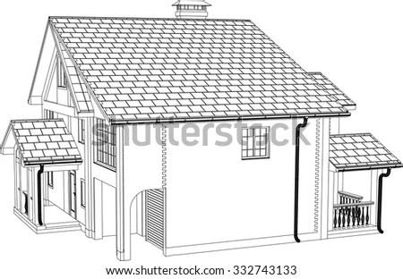 Woodcutstyle Illustration Old Water Mill Stock Vector