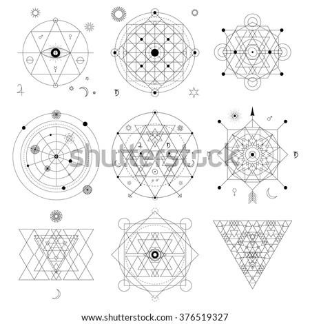 Mystical Geometry Symbols Set Linear Alchemy Stock Vector