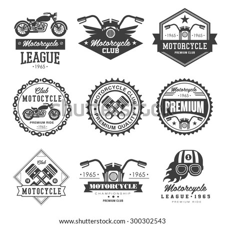 Badges Emblems Motorcycle Collections Vector Logo Stock