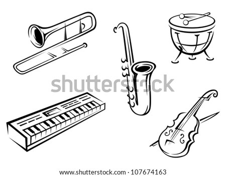 Set Musical Instruments Silhouette Style Entertainment