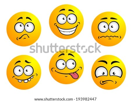 Set Six Emoticons Showing Facial Expression Stock Vector