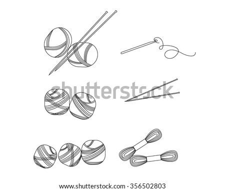 Set Vector Dental Tools Cartoon Style Stock Vector