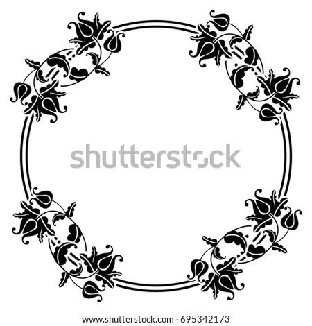 floral silhouette butterflies stock