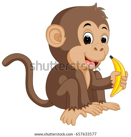 Monkeys And Bananas Cute Wallpaper Cute Cartoon Sitting Monkey Saying Hi Stock Vector