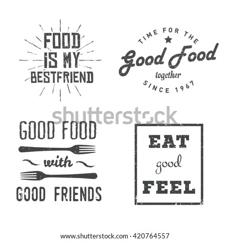 Food Related Quotes Vintage Retro Style Stock Vector