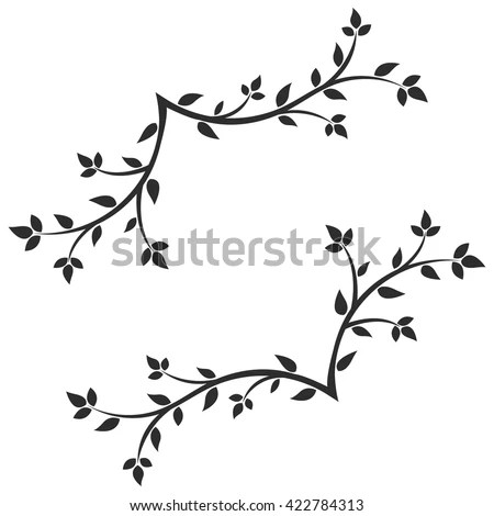 Vector Silhouettes Birds Tree Hand Drawn Stock Vector