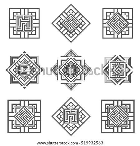 Geometric Russian Traditional Ethnic Textile Cross Stock