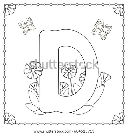 Letters With Flowers Erflies Coloring Pages. Letters. Best