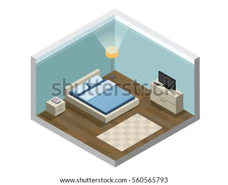 Vector Isometric Low Poly Living Room Stock Vector