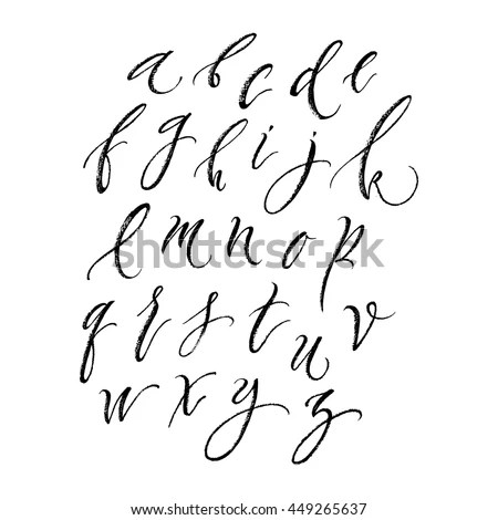 Simple Clean Line Calligraphic Typeface Lettering Stock