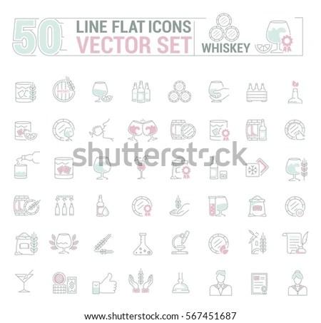 Vector Graphic Seticons Flat Contourthin Minimal Stock