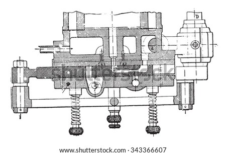 Drawing Old Engine On Graph Paper Stock Vector 158490707