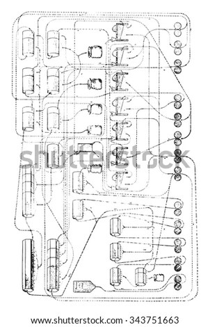 Plan Drawing Building Including Details Equipment Stock
