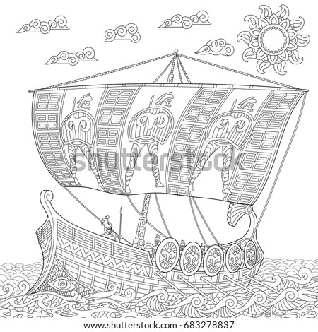 Ancient Greece Ships Coloring Pages Sketch Coloring Page