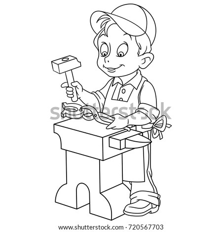 Coloring Page Shoemaker Cobbler Coloring Book Stock Vector