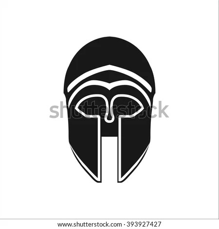Knight Helmet Simple Icon On Colorful Stock Vector