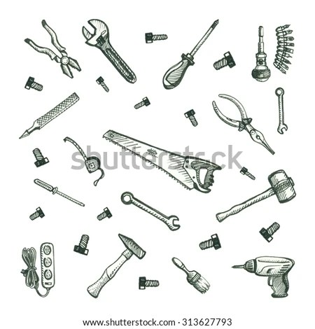 Doodle Hand Work Tool Equipment Icons Stock Vector