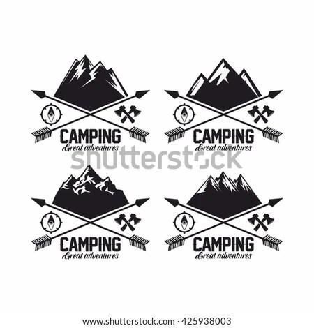 Set Summer Winter Mountain Explorer Camp Stock Vector