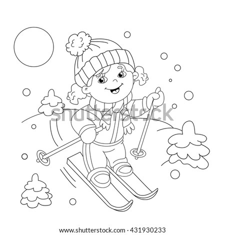 Coloring Page Outline Cartoon Boy Headphones Stock Vector