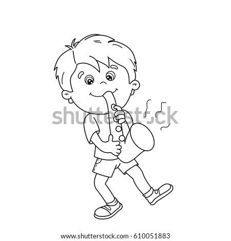 Little Girl Walking Drawing Stock Vector 327670055