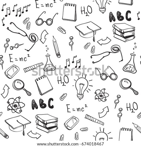 Back School Doodles Math Geometry Geography Stock Vector