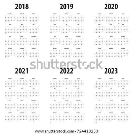Simple Editable Vector Calendar 2017 2018 Stock Vector