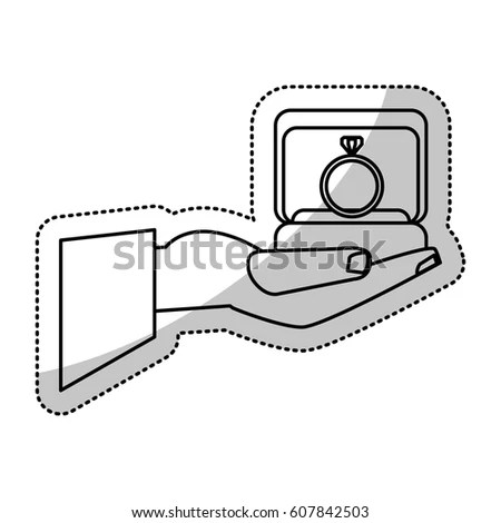 Hand Holding Box Ring Wedding Outline Stock Vector