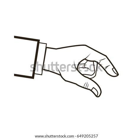 Hands Giving Receiving Money Black White Stock Vector
