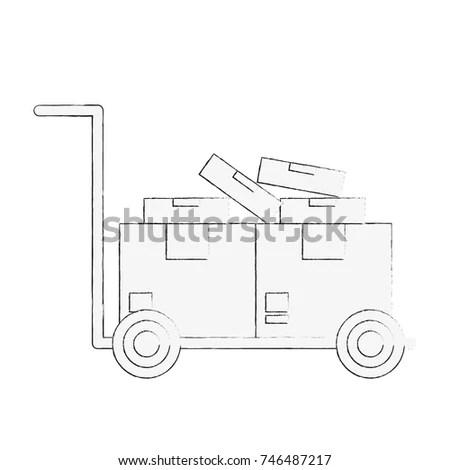 Vehicle Truck Outline Vectorplanfrontside Stock Vector