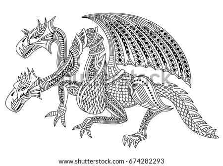 Tyrannosaur Double Exposure Tattoo Art Trex Stock Vector