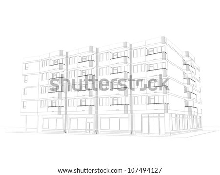Sketch of apartment house Stock Photos, Images, & Pictures