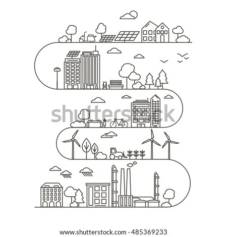Eco City Linear Style Solar Panels Stock Vector 525347926