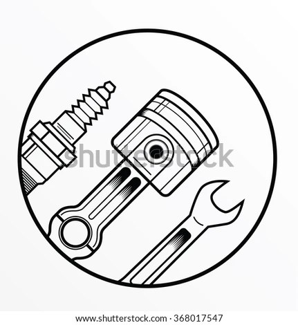 Vector Outline Spark Plug On White Stock Vector 352187954
