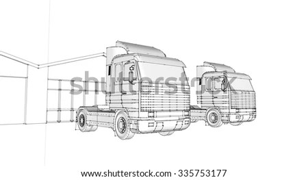Container Truck Trailer Line Drawing Isolated Stock Vector