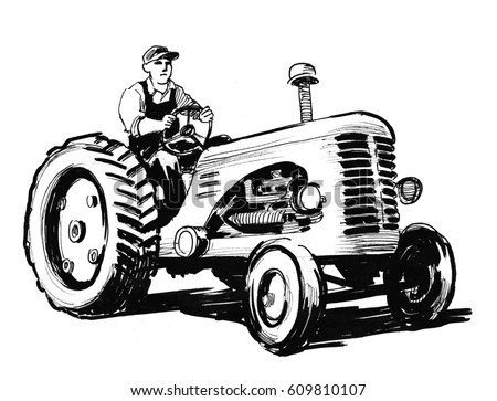 Man Roto Tiller Retro Clipart Illustration Stock Vector