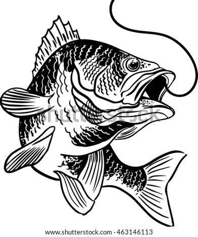 Stylized Jumping Fish Retro Clipart Illustration Stock